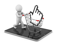 Shopping cart. With a cursor icon Stock Images