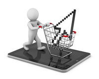 Shopping cart. With a cursor icon Royalty Free Stock Photography