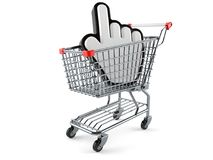 Shopping cart with cursor. On white background Royalty Free Stock Photo
