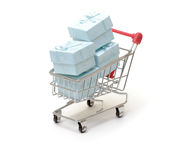 Shopping cart with cyan gift boxes Stock Photos