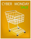 Shopping Cart on Cyber Monday Sale Promotion Royalty Free Stock Image