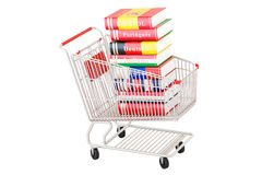 Shopping cart with dictionary books, 3D rendering. Isolated on white background Stock Photography