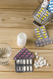 Shopping cart with different tablets and various pills. Shopping cart with different tablets and various pill blister packs royalty free stock photo