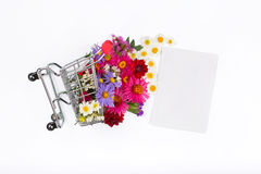 Shopping cart with different wild flowers and blank card Royalty Free Stock Photo