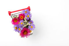 Shopping cart with different wild flowers on white background Royalty Free Stock Photography