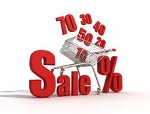 Shopping cart discount Royalty Free Stock Photography