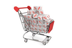 Shopping cart with discount cubes. On a white background Royalty Free Stock Photo