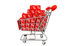 Shopping cart with discount cubes. On a white background Royalty Free Stock Photography
