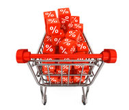 Shopping cart with discount cubes Royalty Free Stock Photo