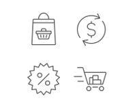 Shopping cart, Discount and Dollar icons. Stock Photos