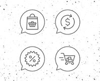 Shopping cart, Discount and Dollar icons. Royalty Free Stock Photo
