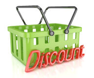 Shopping cart with discount inscription Royalty Free Stock Photo