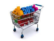 Shopping cart with discount prices Stock Photo