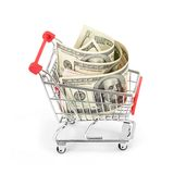 Shopping cart and dollar Royalty Free Stock Image