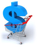 Shopping cart with a dollar Stock Photo
