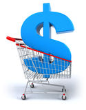 Shopping cart with a dollar Stock Images