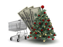 Shopping cart, dollar bills and christmas tree Stock Image