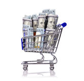 Shopping cart with dollar Stock Photo