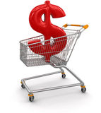 Shopping Cart with Dollar  (clipping path included) Stock Photos