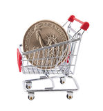 Shopping cart with dollar coin Stock Photos