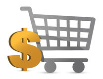 Shopping cart and dollar currency Royalty Free Stock Images