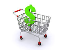 Shopping cart with a dollar sign. In it (3d render Royalty Free Stock Images