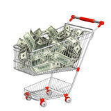 Shopping cart and dollars Royalty Free Stock Photography
