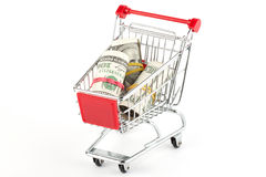 Shopping cart and dollars Stock Photos