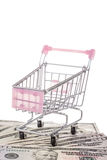 Shopping cart on dollars Stock Photo