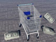 Shopping cart and dollars Royalty Free Stock Image