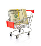 Shopping cart with dollars Royalty Free Stock Photo