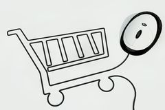 Shopping cart drawn with mouse wire Royalty Free Stock Photos
