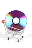 Shopping cart and DVD Royalty Free Stock Image