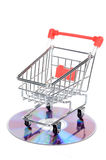 Shopping cart and DVD Royalty Free Stock Photography
