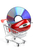 Shopping cart and DVD with mouse Royalty Free Stock Image