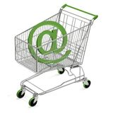 Shopping Cart with e-mail. Computer render Stock Image