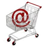 Shopping Cart with e-mail. Computer render Stock Photography