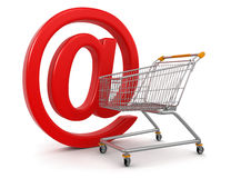 Shopping Cart with e-mail  (clipping path included). Shopping Cart with e-mail. Image with clipping path Royalty Free Stock Photo