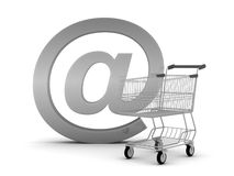 Shopping cart and e-mail sign Stock Photography
