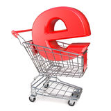 Shopping cart and E symbol. E-shop concept. 3D render Stock Image