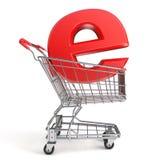 Shopping cart and E symbol. E-shop concept. 3D render Royalty Free Stock Photography