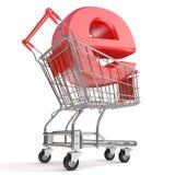 Shopping cart and E symbol. E-shop concept. 3D render Stock Photo