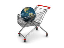 Shopping cart with earth Stock Image