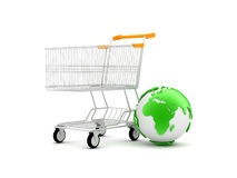 Shopping cart and earth globe Stock Photography