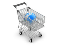 Shopping cart and earth globe Royalty Free Stock Photography