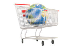 Shopping cart with Earth globe, online shopping concept Royalty Free Stock Photo
