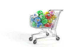 Shopping cart and Easter eggs Royalty Free Stock Images