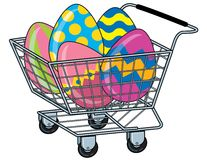 Shopping Cart With Easter Eggs Royalty Free Stock Images