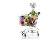Shopping cart with easter eggs and bunny Stock Photography