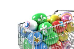 Shopping cart with Easter eggs Stock Images